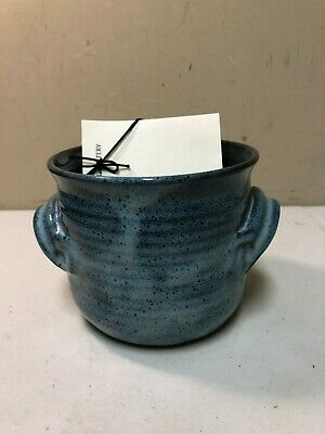 Blue Stoneware Pottery Bowl Bread Baking Dish by D Howard Pottery with Recipes