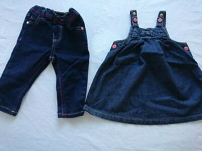 Baker baby girl denim jeans pinafore dress 6-9 months great condition