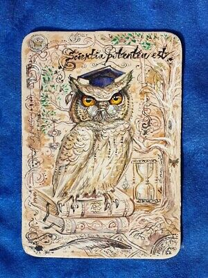 Hand Crafted Original Art Card Vintage Style Illustration Of An Owl