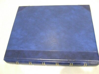 Blue Luxury Padded Faux Leather 4 Ring Stamp Album & Quadrille Pages, Vgc