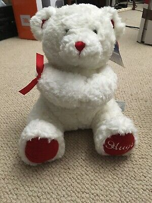 build a bear White & Red Valentines Hugs Teddy 2005 Ltd Edition Soft Toy
