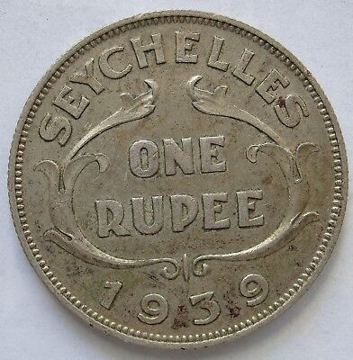 Seychelles 1939 Silver 1 Rupee.VF(LotE11181118)Free Registered Post