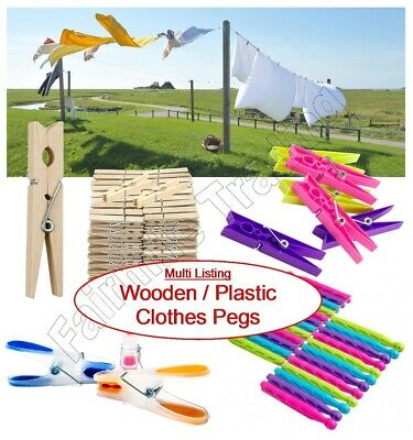 Wooden Plastic Clothes Pegs Washing Line Rotary Dryer Laundry Airer Garden Peg