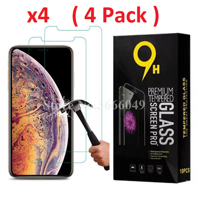 4-Pack Tempered Glass Premium Screen Protector iPhone 6 7 8 X / XS / XR / XS Max