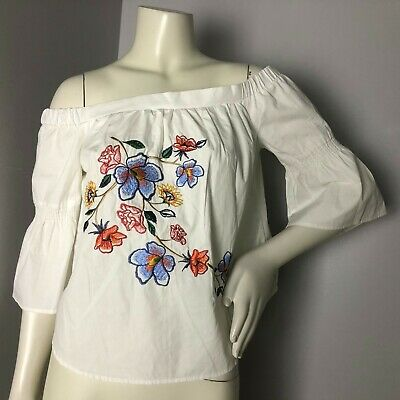 Jealous Tomato Womens White Off Shoulder Floral Embroidered Boho Festival Top S