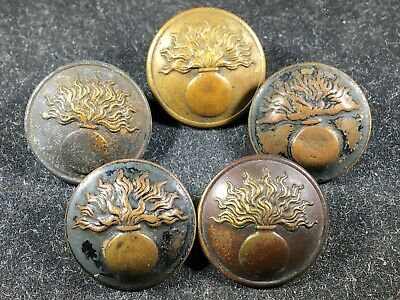 LOT OF 5 - WW1 WWI Imperial French Infantry Uniform Buttons (Copper / Brass)
