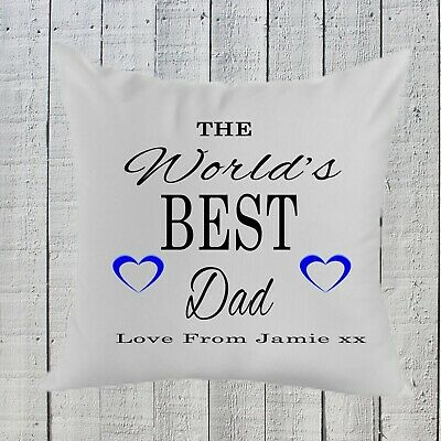 Personalised Fathers Day Worlds Best Dad Pillow Gift, Birthday ,Dad ,Grandad