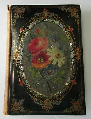 Lovely RARE 1800s Black Lacquer Hand Painted Bouquet MOP Inlaid Book Moss Rose