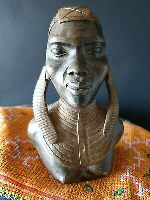 Old African Woman Carved Wooden Bust …beautiful collection & display piece