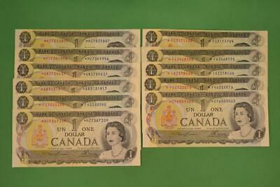 Lot of Eleven 1973 $1 Bank of Canada. Replacement Bills. Lawson Bouey. Ungraded.