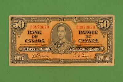 1937 Bank of Canada $50 Fifty Dollars. Gordon Towers. Ungraded. BH3973679.