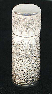 Antique ETUI Sterling Silver Repousse Sewing Thread Needle Case 925 With Thimble