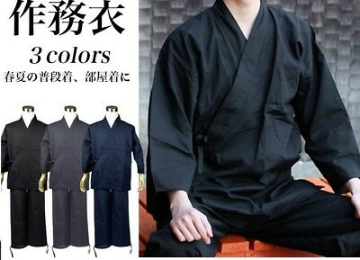 Japanese Kimono Yukata Traditional Workwear Tsumugi Set 100% Cotton from JAPAN
