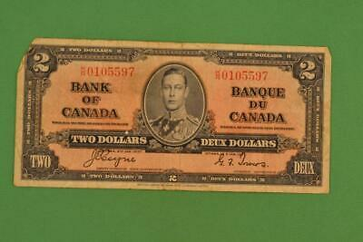 1937 Bank of Canada $2 Two Dollars. Gordon Towers. Ungraded. KR0105597.