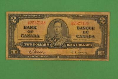 1937 Bank of Canada $2 Two Dollars. Gordon Towers. Ungraded. ZB2527138.