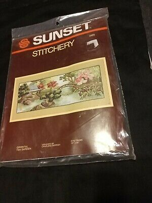 "Vintage Sunset Stitchery ""Oriental Tea Garden"" Crewel Embroidery Kit 1982"