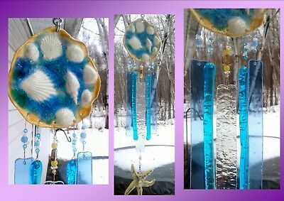 Seashell Wind Chime Glass & Ceramic Mobile Starfish Turquoise Blue Gold