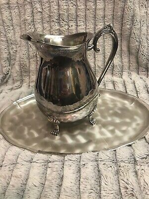 "LEONARD USA SILVER FOOTED WATER PITCHER w/ ICE LIP CLAW FEET 8"" H x 8"" W  8 CUPS"