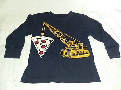 Gymboree toddler boy Navy Blue Size 3t Tractor Pizza Shirt