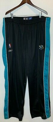 New Orleans Hornets Mens 3XL Reebok NBA Warm Up Basketball Tear Off Pants Black
