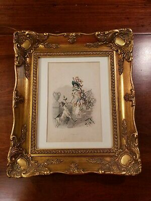 Beautifully Framed Antique French Lithograph Titled Honeysuckle 18th Century