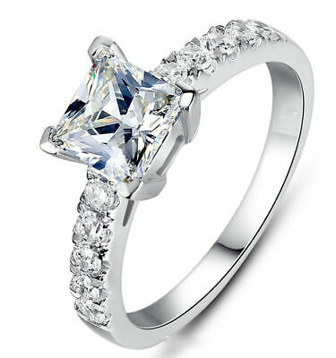 White Sapphire Birthstone 925 Silver Filled Wedding Woman Ring Gift Size 5-10