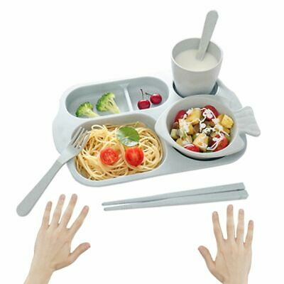 4 Pcs/Set Baby Kids Tableware Set Wheat Straw Children Dinner Plate Feeding Dish