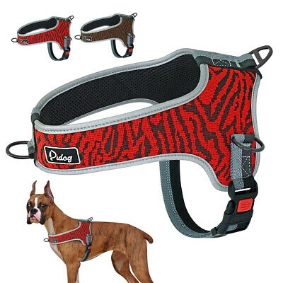 No Pull Front Leading Dog Harness Adjustable Reflective Mesh Padded Vest M L XL