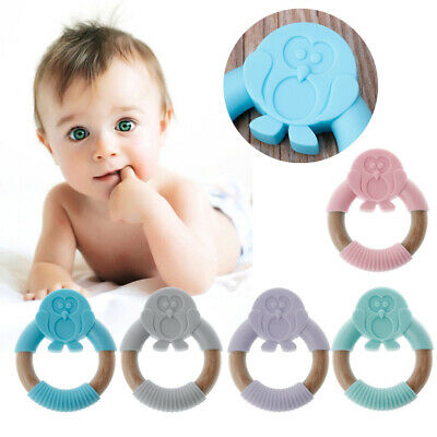 Baby Teether Teething Collares Pacifier Clips Chew Toy Silicone BPA FREE SE