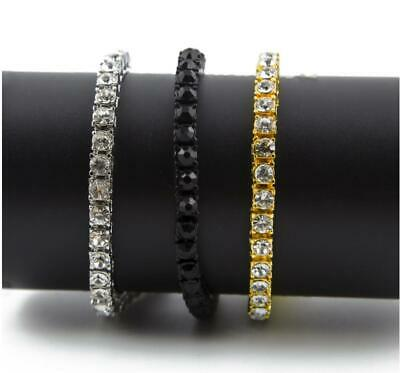 Hip Hop Gold Single Row Iced Out Shining Tennis Chain Necklace Bracelet Jewelry