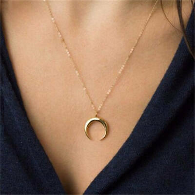 women Gold moon layered necklace crescent Moon Wicca horn pendant jewelry
