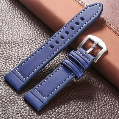 Black/Brown/Blue 18/20/22/24mm Watch Band Leather Strap Replacement Bracelet