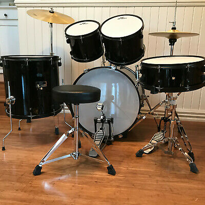 5 Piece Black Drum Kit Full Size DP Drums (literally used for two months!!)