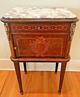 19th Century French Walnut Marquetry Inlaid Marble Top Nightstand / Side Table