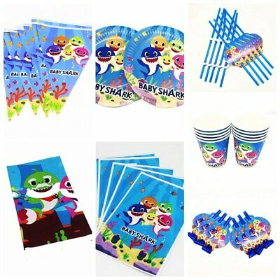 Baby Shark Kids Birthday Party Supplies Cup Banner Flag Decor Plates Tablecloth