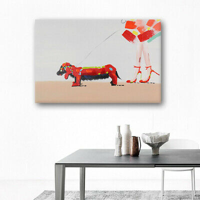 House Decor With Frame Oil Painting Modern Abstract Handmade On Canvas Red Dog