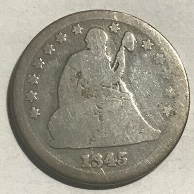 1845 Seated Liberty Silver Quarter