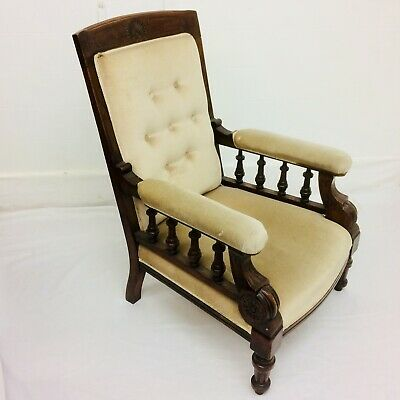 Victorian * ARMCHAIR Great Shape & Design *  Velvet Button-back For reupholstery