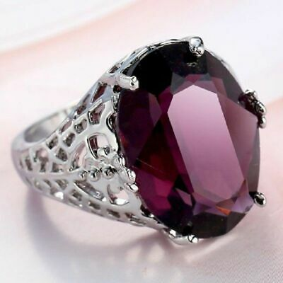Huge Natural 6Ct Alexandrite Ring Silver plated Wedding Engagement Size 6-10