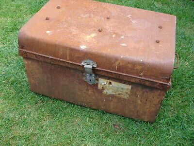 K Very Old Vintage Industrial Steamer Army Leather Storage Trunk St C.c.