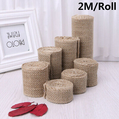 2M/roll Natural Jute Burlap Hessian Ribbon Rolls Vintage Rustic Wedding Decors