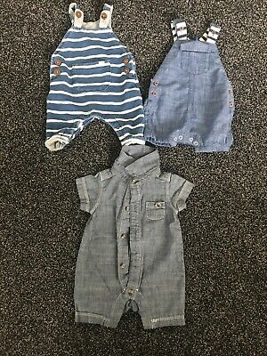 3 X Baby Boy Summer Rompers / Dungarees Soft 1 Month/ 10 Lb . Next . Mothercare