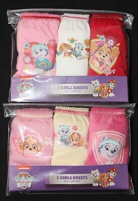 PAW PATROL 100% Cotton Girl's Briefs/Knickers x 6 Pairs - 18 Months-5 Years