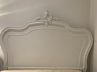 Antique French Louis XV Shabby Chic White Double Bed Frame