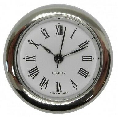 New Quartz Clock Insertion Movement Chrome 23mm Diameter Roman Numerals - CM5411