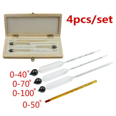 4 Pcs 0-100% Hydrometer Alcoholmeter Thermometer Tester Set Alcohol Meter New