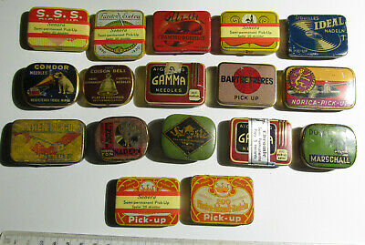 17 pieces Vintage Antique Gramophone Needle Tin collection