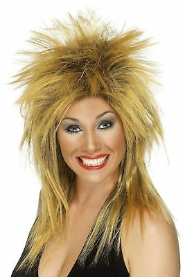 Women's 80's 90's Ginger Tina Turner Rock Diva Fancy Dress Wig Singer Hen Fun Do