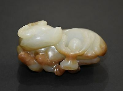 """Finely Chinese Qing Dy Old Nephrite Jade Carved Babe Cattle Design """"Ba Jian"""""""