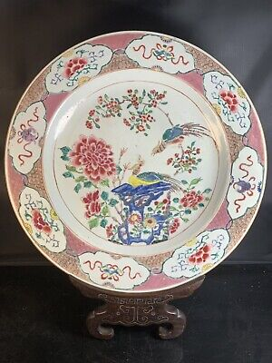 Big Antique Chinese Porcelain Families Rose Plate 18th Century